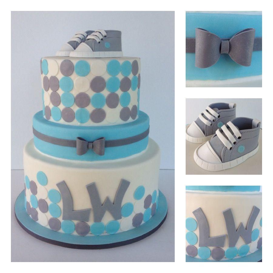 Baby Boy Shower Cake. Edible Shoes. SweetGiGi Cake Design, Portland, Oregon #sweetgigicakedesign