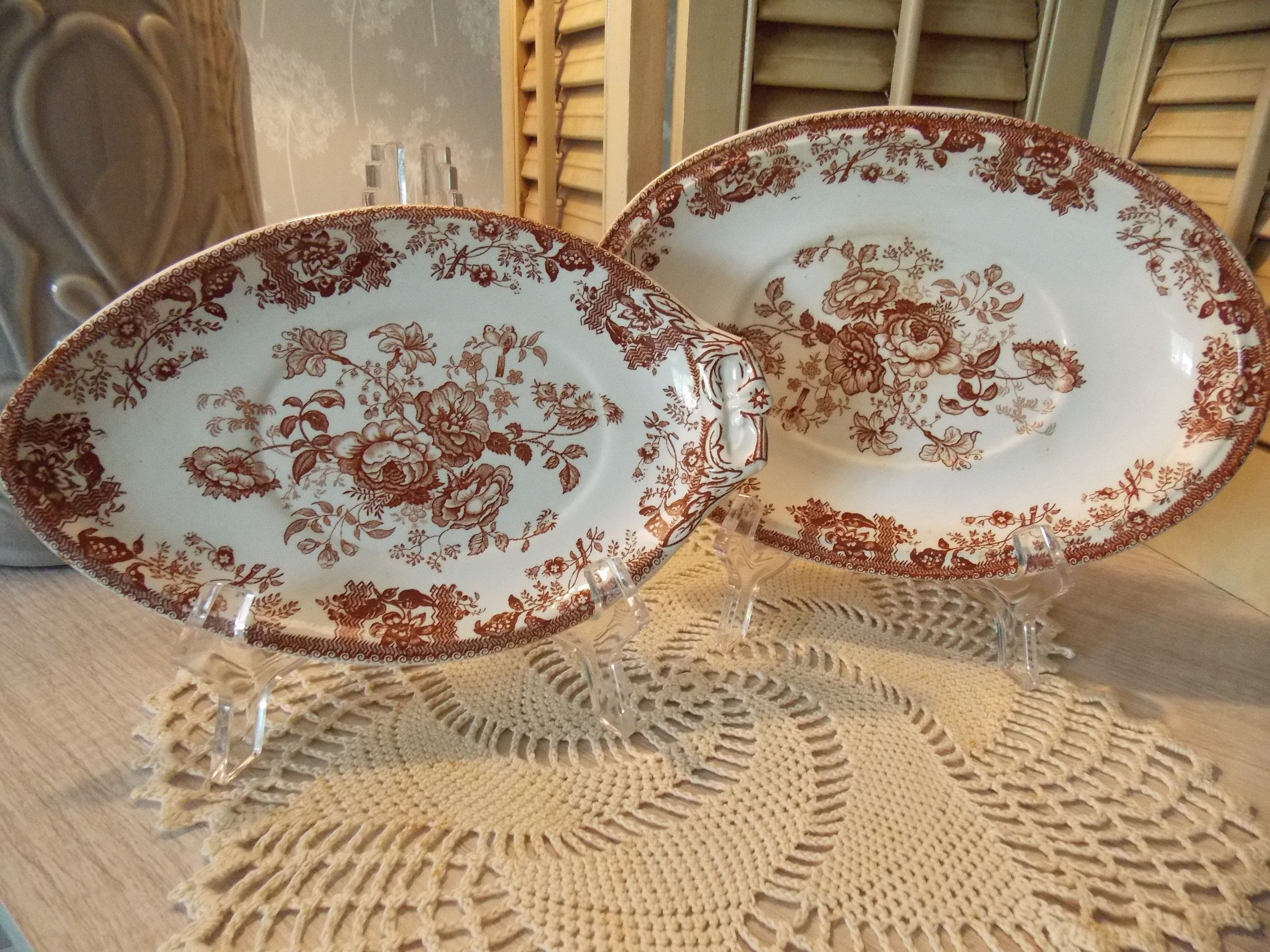 Pair of Oval BROWN TRANSFER WARE Floral Plates, Transfer Ware Serving Dishes #dishware