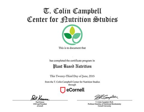 plant-based nutrition certificate - t. colin campbell center | plant ...