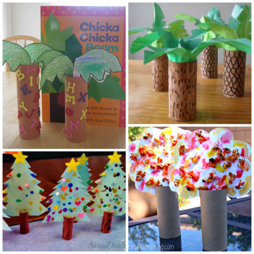 Toilet paper roll tree craft ideas for kids crafty for Toilet paper art ideas