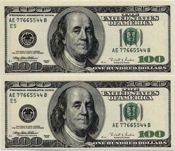 200 Gift Certificate 100 Dollar Bill Banknotes Money Dollar Bill