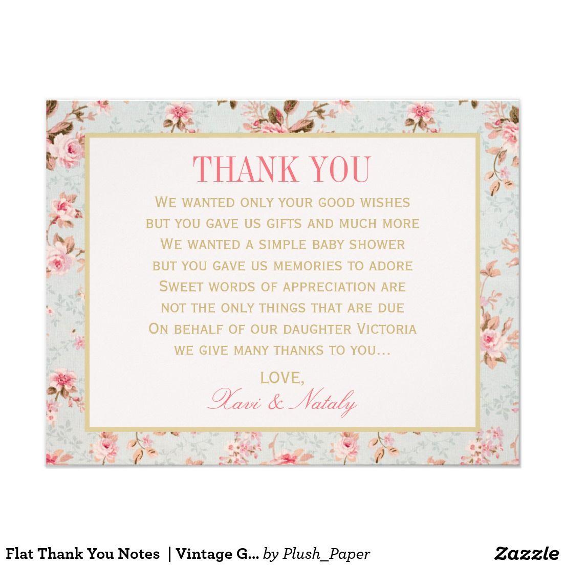 Flat Thank You Notes | Vintage Garden Party Card | Wedding : Thank ...