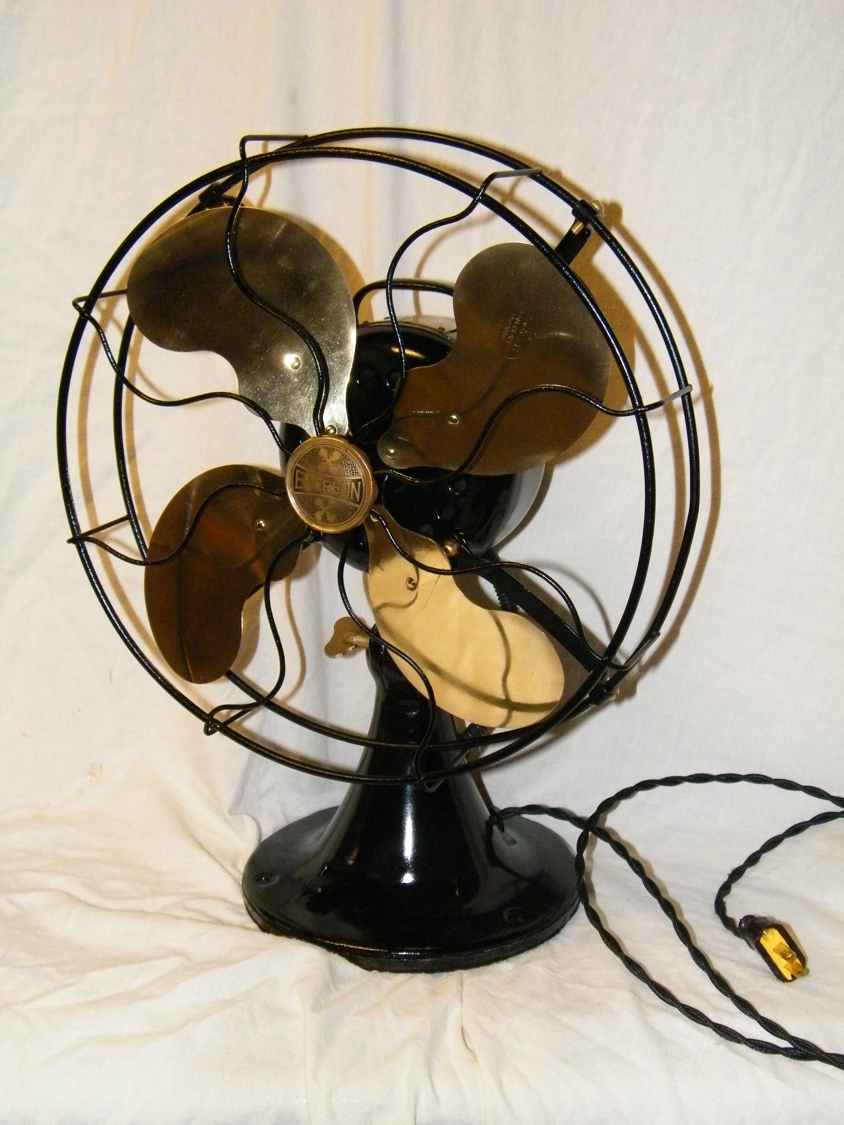 Antique Emerson Fan With Brass Blades Antique Fans Fan Blade Art Old Fan