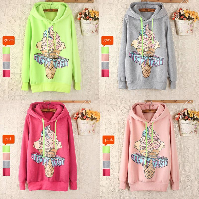Kawaii Hooded Sweaters Cartoon Ice | Hooded sweater, Ice cream ...
