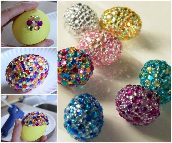 Easter Egg Recipe and Decorating Ideas - DIY rhinestone egg #diy #Easter, #egg, #craft