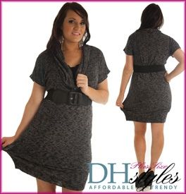 42) Charcoal Marled Cowl Neck Sweater Dress w/ Belt | I want this ...
