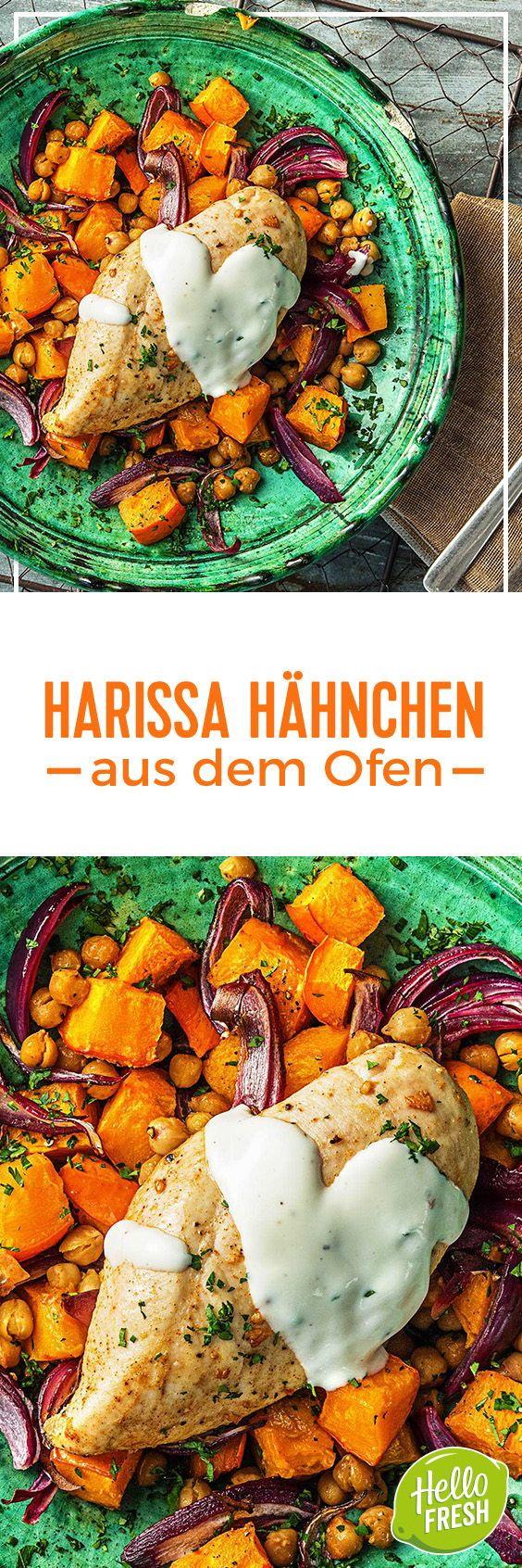 Würziges Ofen-Harissa-Hähnchen mit Süßkartoffel-Kichererbsen-Gemüse ...