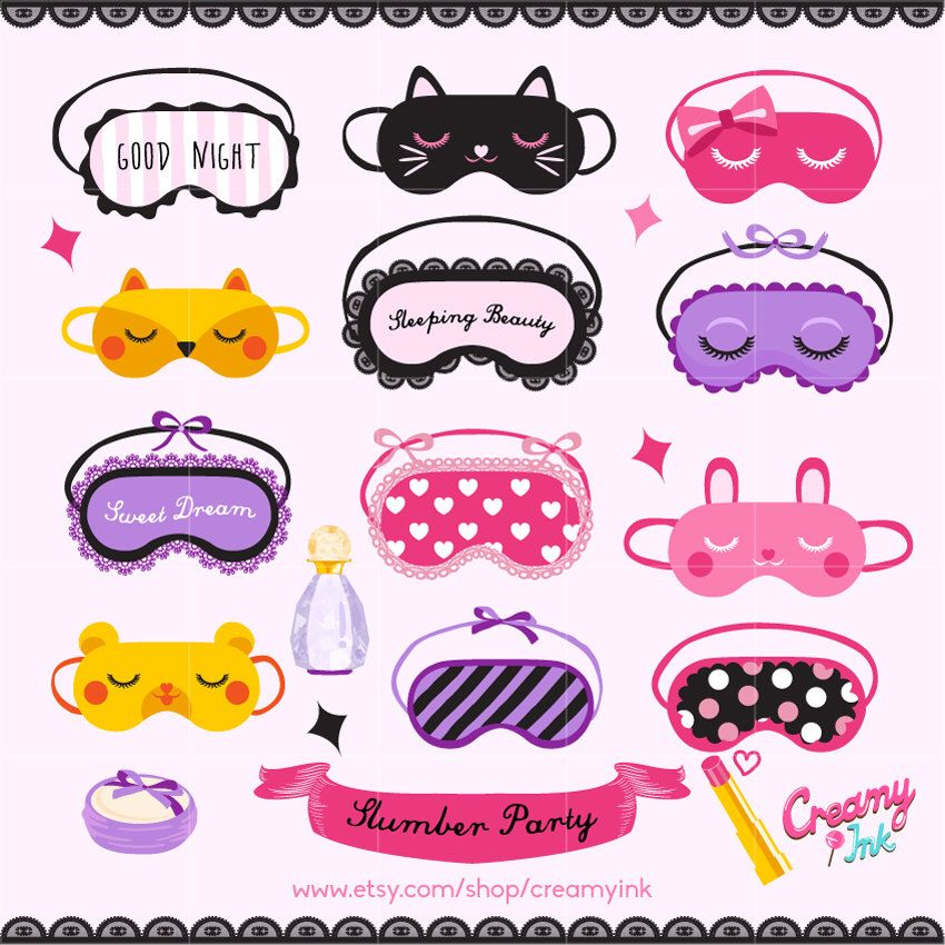 Slumber Party Digital Vector Clip art / Sleepover Clipart