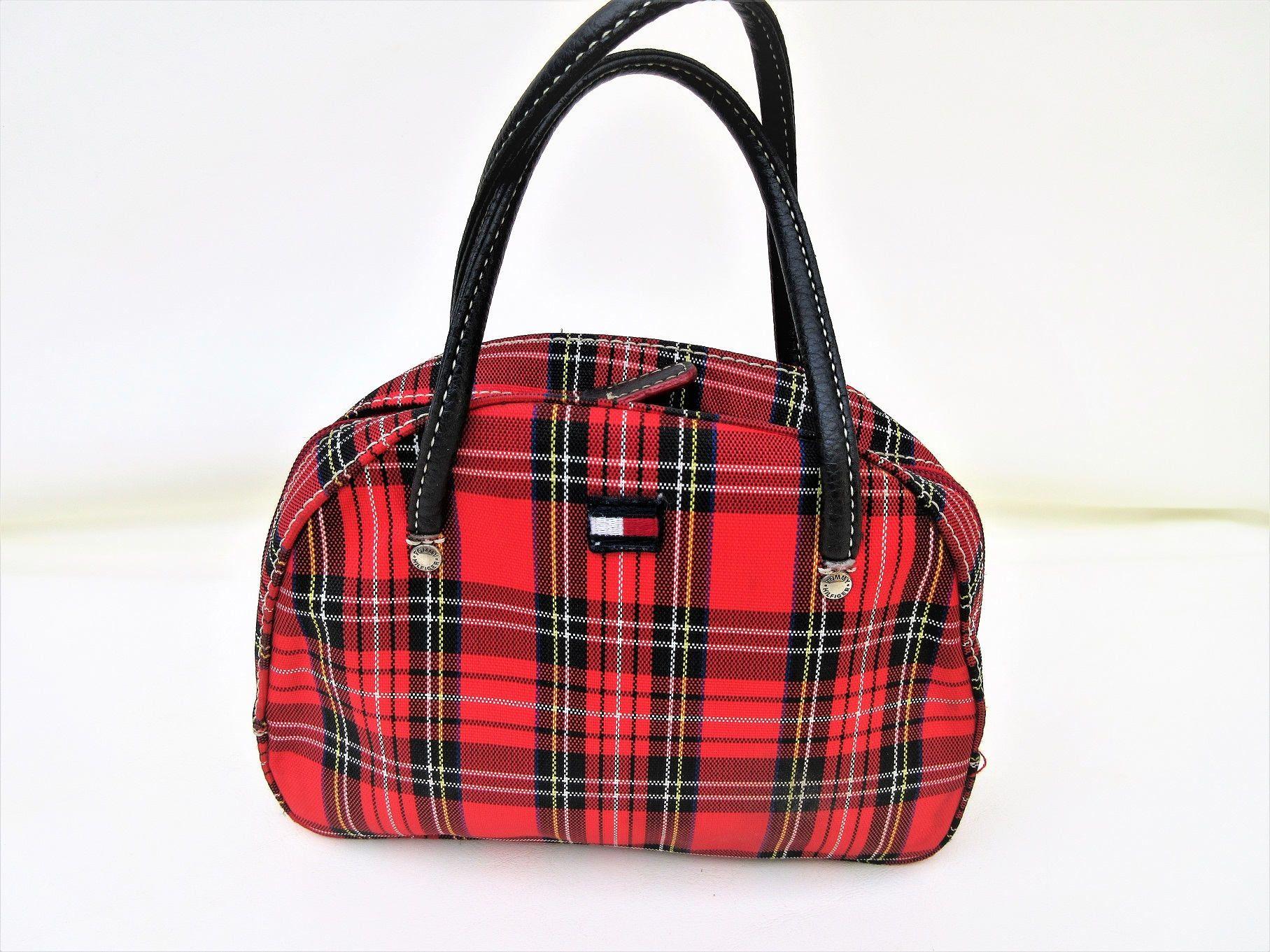 Vintage Plaid Bag Small Cosmetic Bag Makeup Case