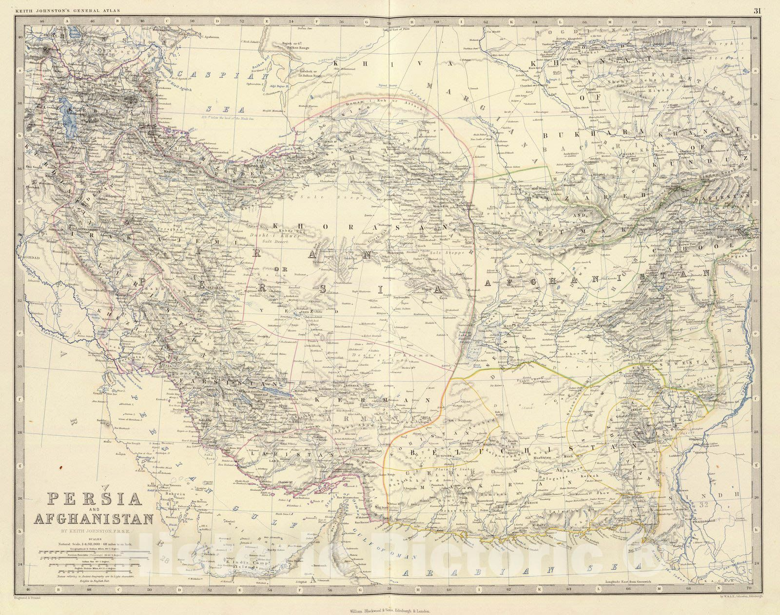 <p>Persia and Afghanistan by Keith Johnston, F.R.S.E. Engraved & printed by W. & A.K. Johnston, Edinburgh. William Blackwood & Sons, Edinburgh & London, (1861) | The royal atlas of modern geography, exhibiting, in a series of entirely original and authentic maps, the present condition of geographical discovery and research in the several countries, empires, and states of the world by Alexander Keith Johnston ... With a special index to each map. William Blackwood and Sons, Edinbu