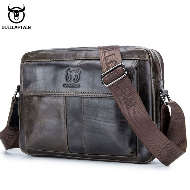 2831059c91 BULL CAPTAIN Genuine Leather Men Handbag Casual Business Man Shoulder  Crossbody bags Cowhide Large Capacity Travel