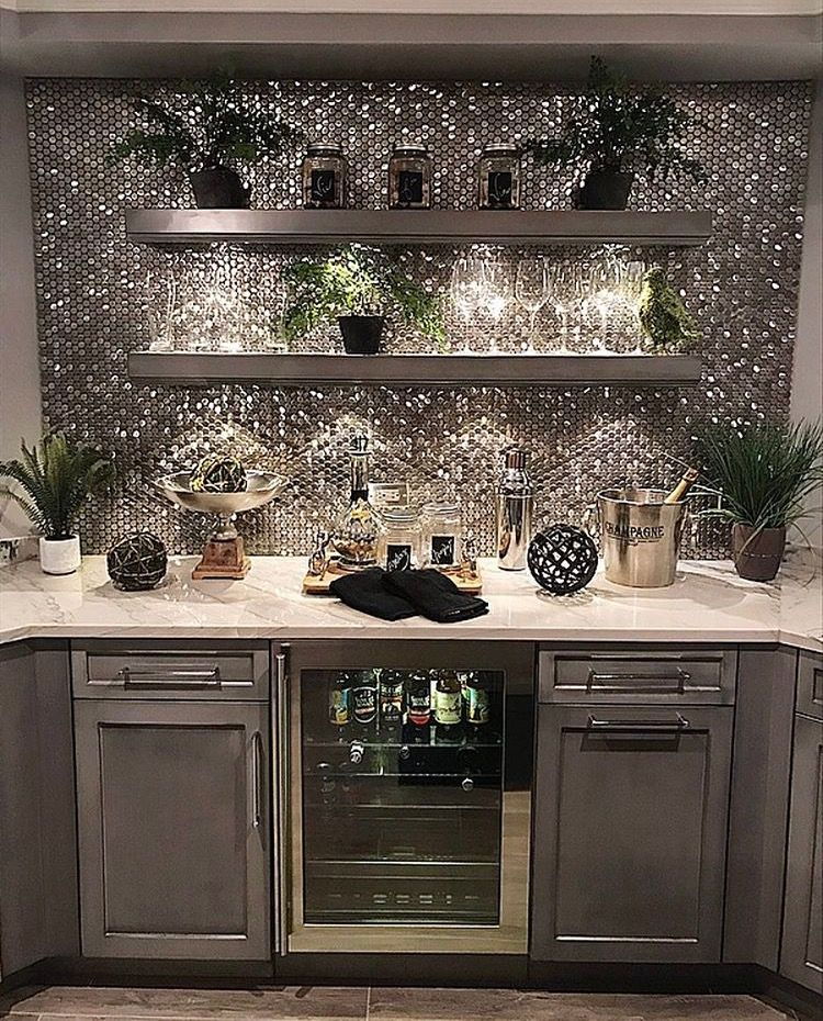 Backsplash steel penny tile home ideas in 2019 home - Penny tile backsplash kitchen ...