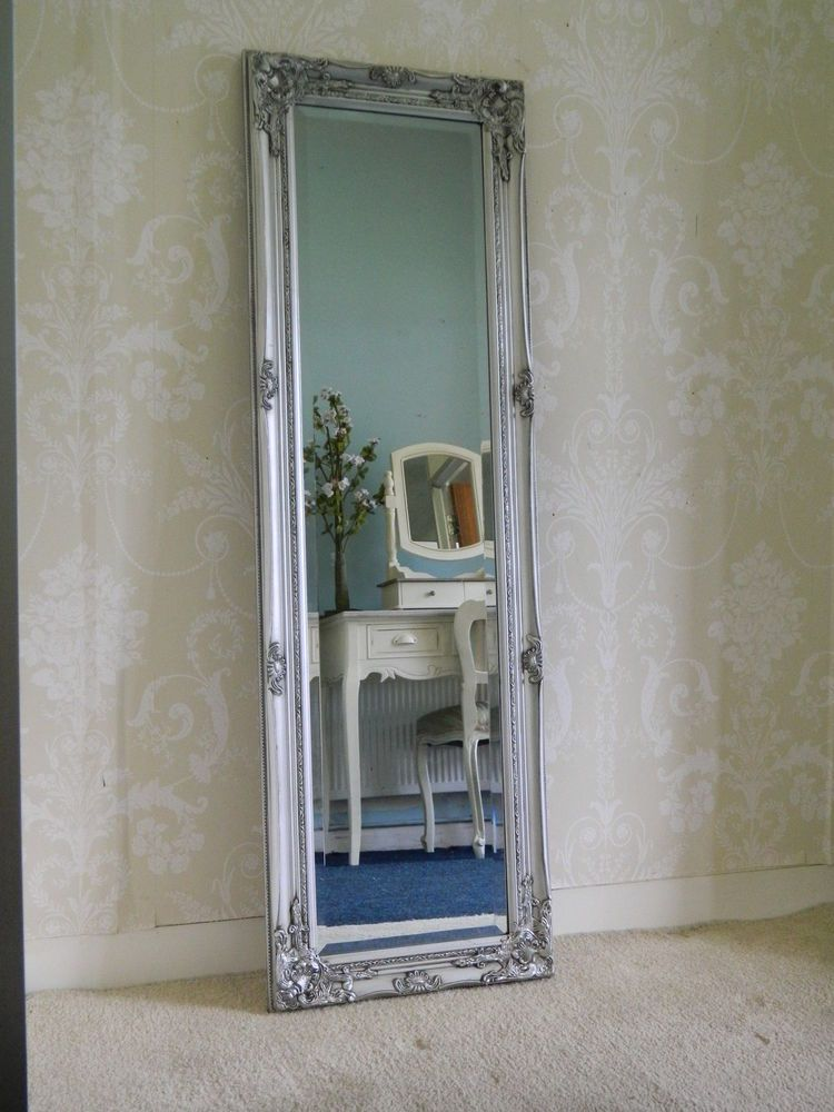 Large Silver Ornate Tall Long Mirror Hallway Bedroom Chic Vintage French  Shabby