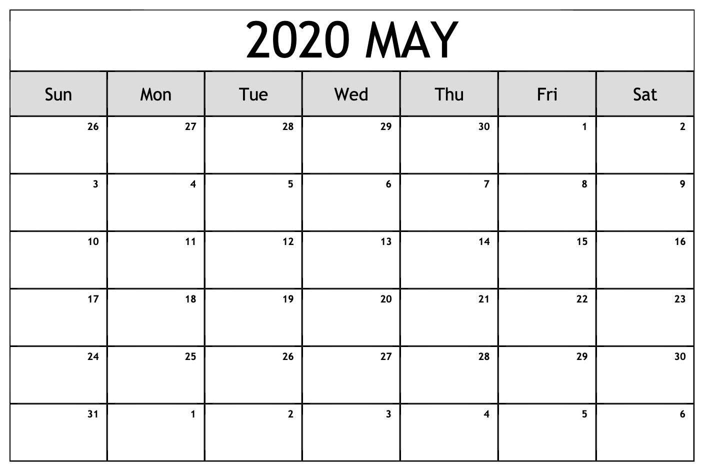 May 2020 Calendar Printable Blank Template Pdf Word Excel