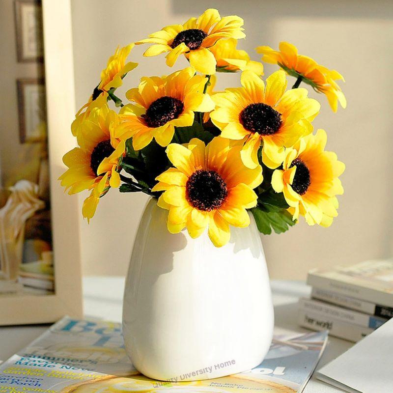 Sunflower Artificial Flower Vase Set Living Room Dining Table Flower Holiday Decorations Artificial Flowers Artificial Silk Flowers Flower Vase Design
