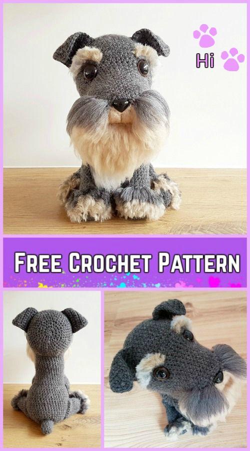 Crochet Schnauzer Dog Plush Toy Amigurumi Free Pattern | Häkeln ...
