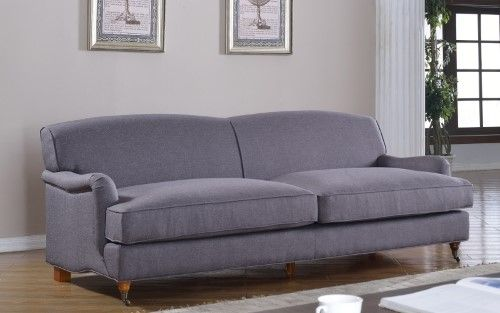 Mid Modern Century Large Linen Fabric Sofa With Casters | Jet.com