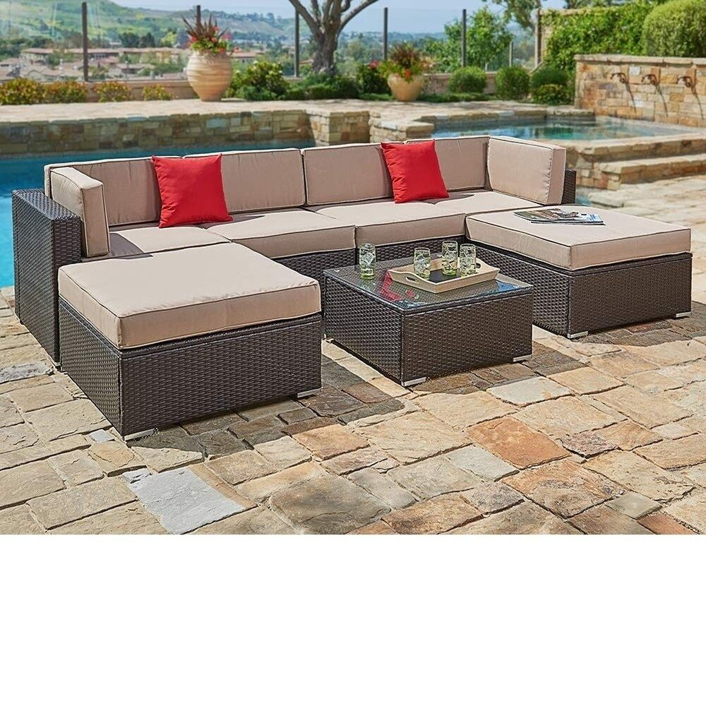 Petite Havenside Home Pheap Outdoor 7 Piece Brown Wicker Sectional