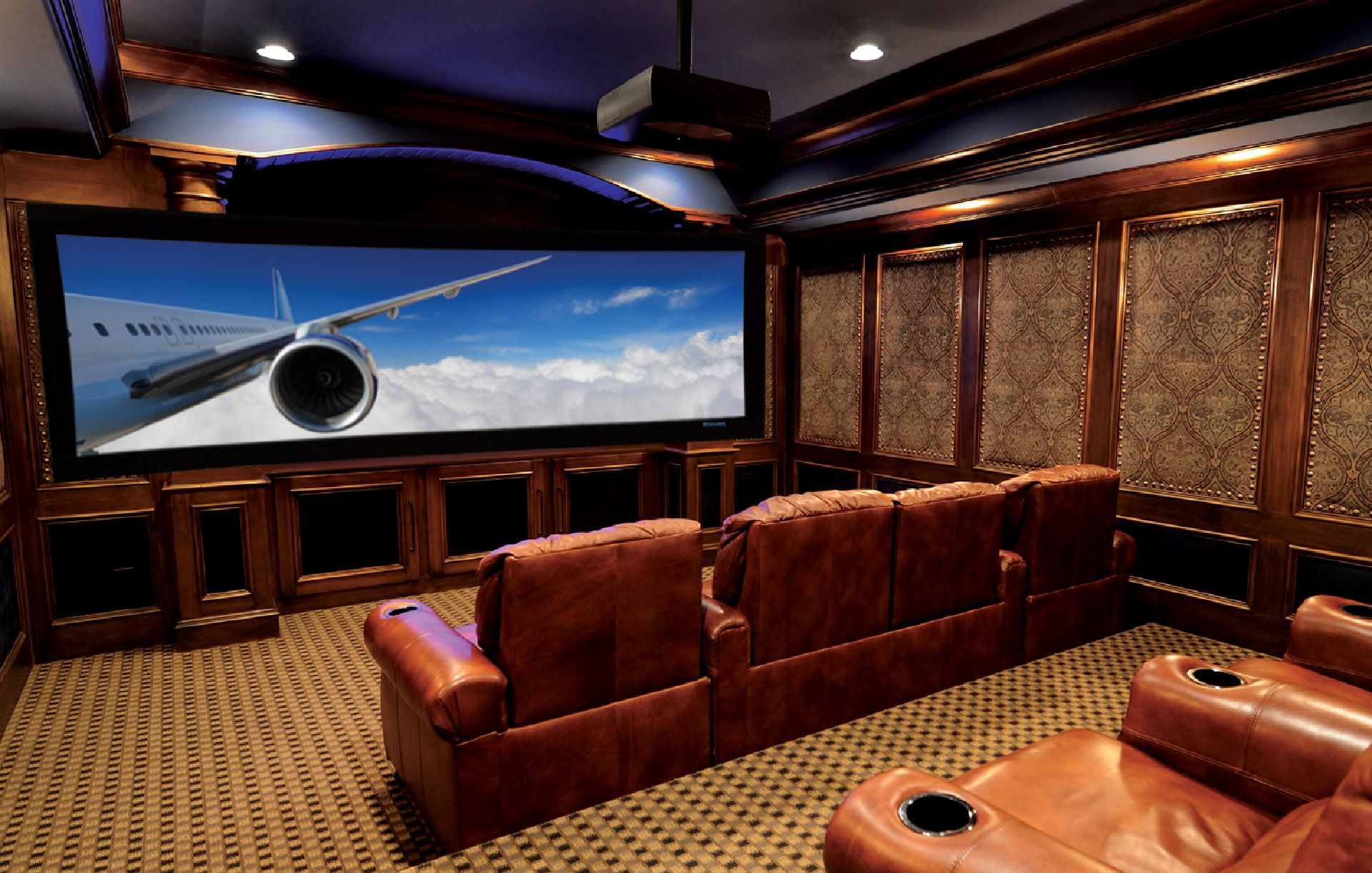 Interior Owesome Home Theatre Designs With Sweet Wallpaper And Shiny