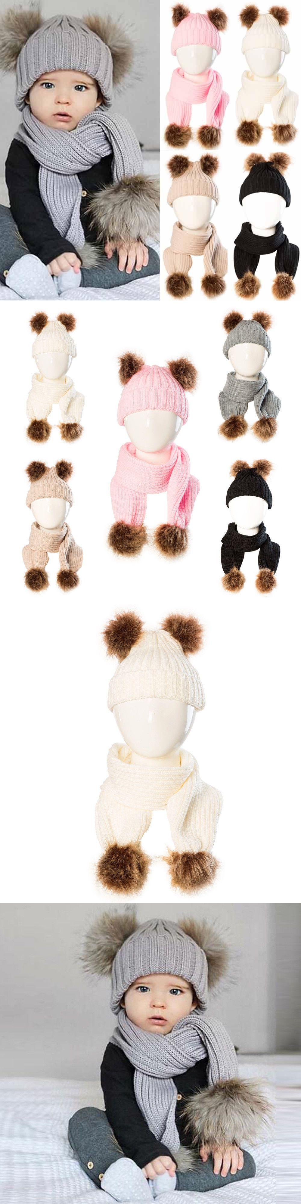 a544160bb8f Scarves 175523  2Pcs Newborn Baby Kids Boy Girl Winter Warm Cap Fur Pom  Knitted Beanie Hat+Scarf -  BUY IT NOW ONLY   10.64 on  eBay  scarves   newborn ...