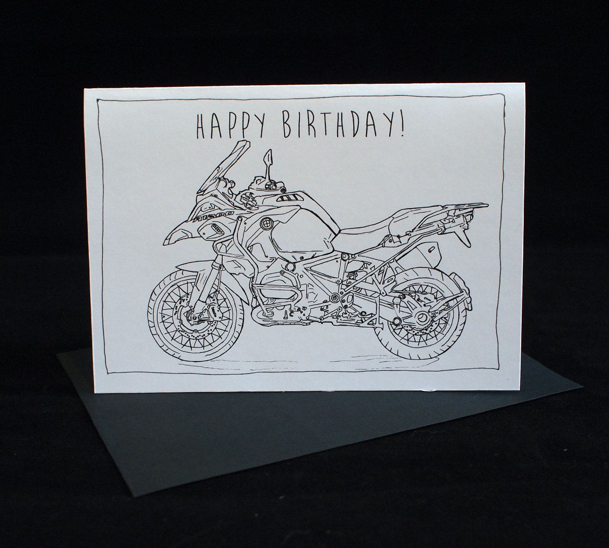 Motorcycle birthday card bmw r1200gs a6 6 x 4 103mm x bmw r1200gs black white motorcycle birthday card a6 6 x 4 bookmarktalkfo