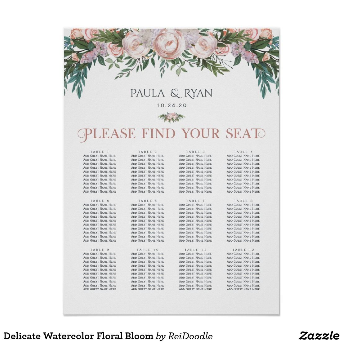 Delicate Watercolor Floral Bloom Poster