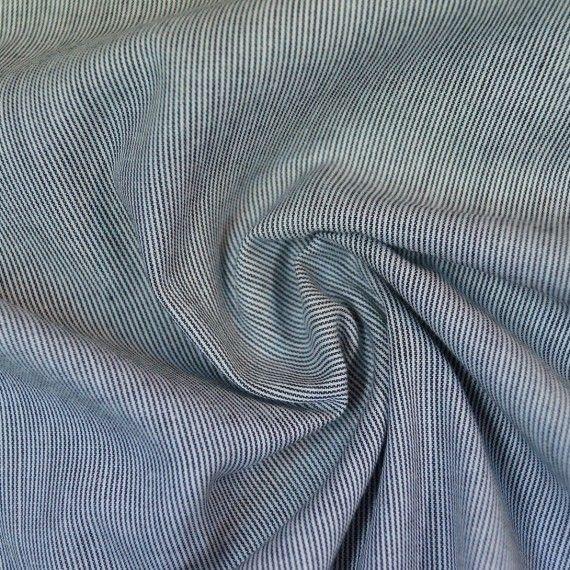 Pinstripe Chambray leichte Baumwolle anthrazit