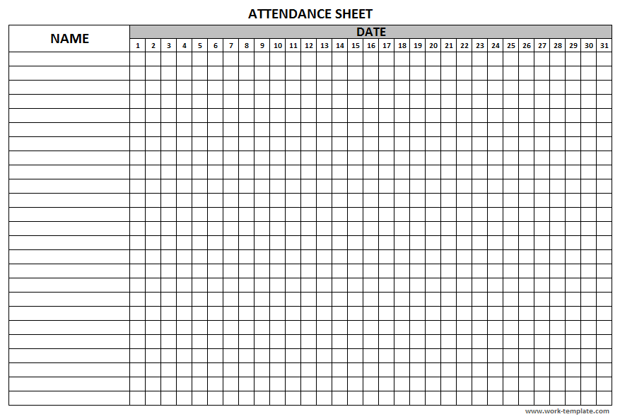 Printable Attendance Sheet Template For Employees Students Workers Attendance Sheet Attendance Sheet Template Student Attendance Sheet