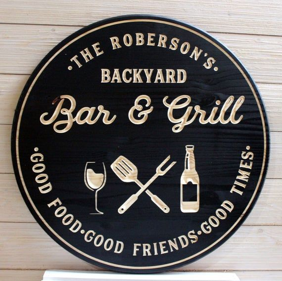 Bar & Grill Sign Bar Signs BBQ Signs Personalized Bar Sign ...