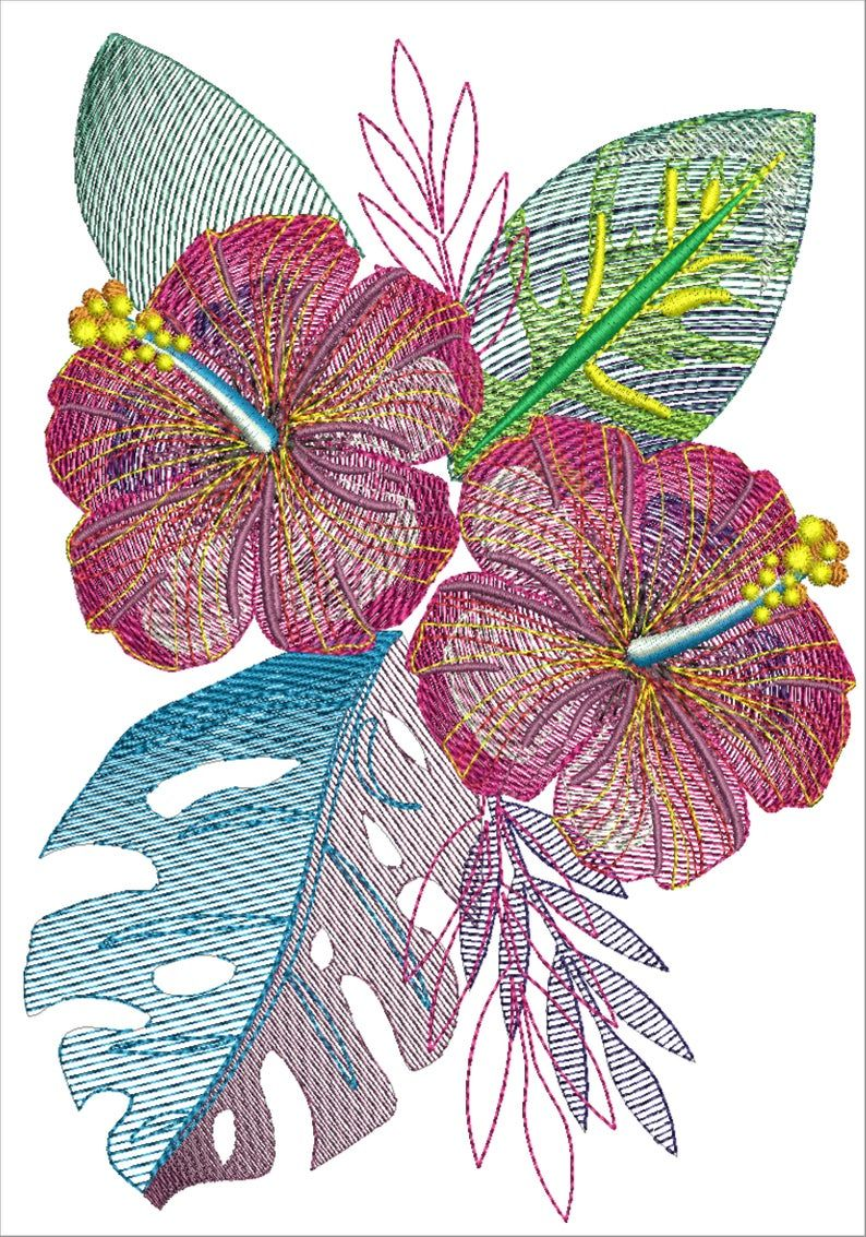 Machine Embroidery Design Hibiscus Flowers With Leaves In The Etsy Machine Embroidery Designs Abstract Embroidery Embroidery Designs