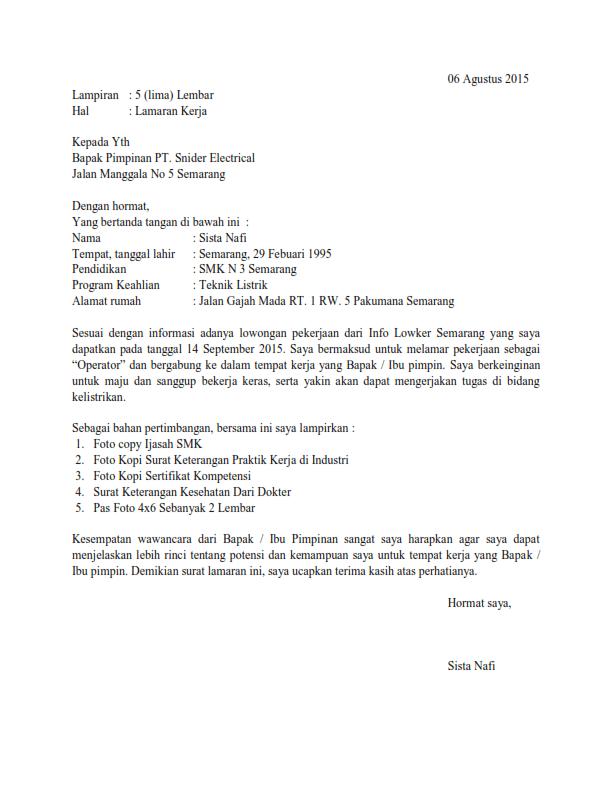 Contoh Surat Lamaran Kerja Bagian Produksi Sebagai Operator Kepala Supervisor Surat Pendidikan Pimpinan