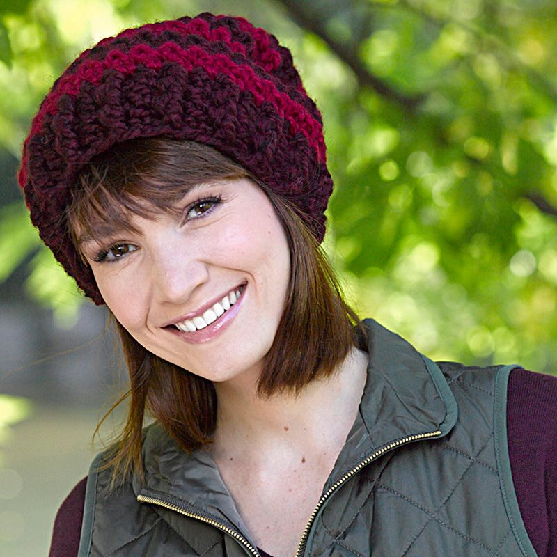 Lion Brand Wool Ease Thick And Quick Slouchy Stripe Hatcrochet