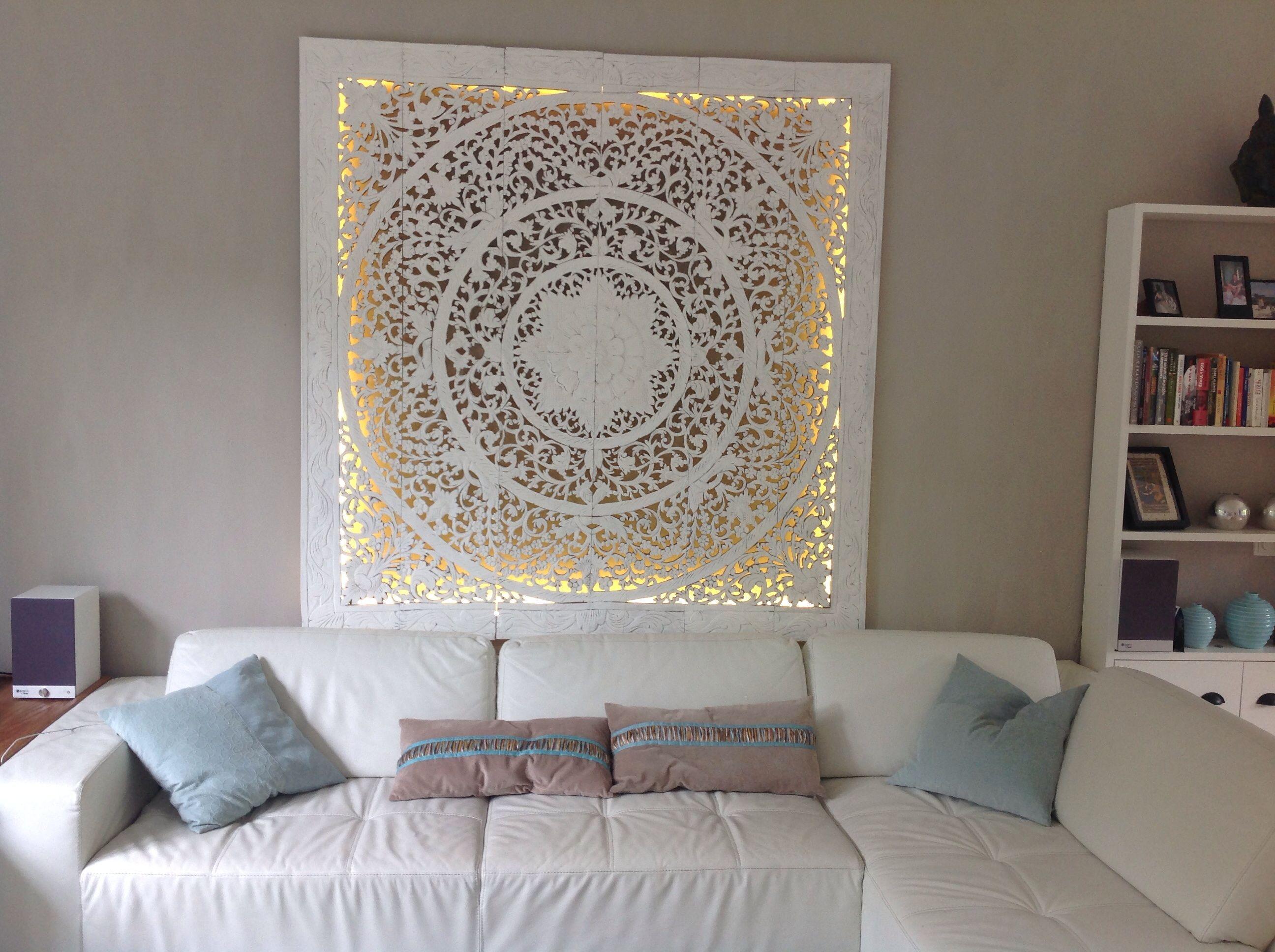 SIMPLY PURE Houtsnijwerk wandpaneel 180x180 cm wit in