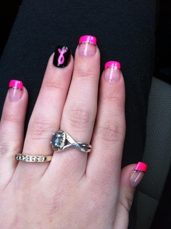 Black And Pink Ribbon Nail Art Trendy Nail Art Pinterest Nails