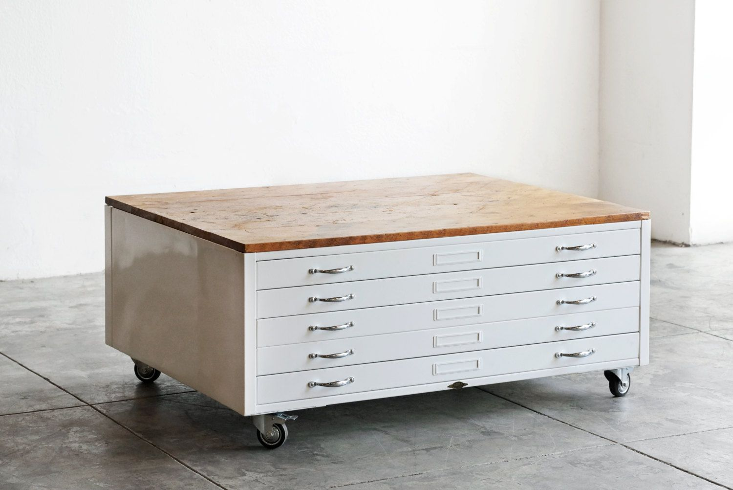 Vintage Flat File Coffee Table In High Gloss White With Reclaimed Wood Special Order 1800 00 Usd By Rehabvintagela