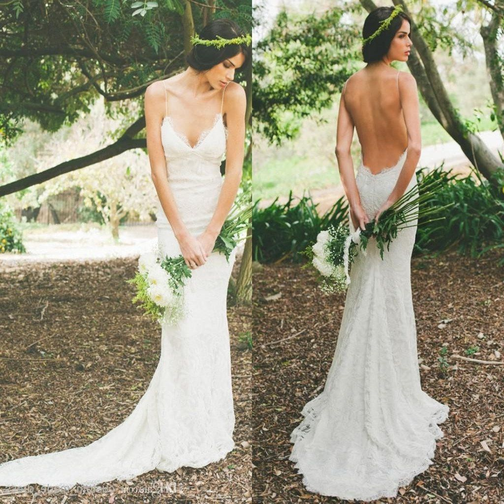 Lace button up wedding dress november 2018 Hot style Elegant Vneck Backless Spaghetti Strap White Full lace