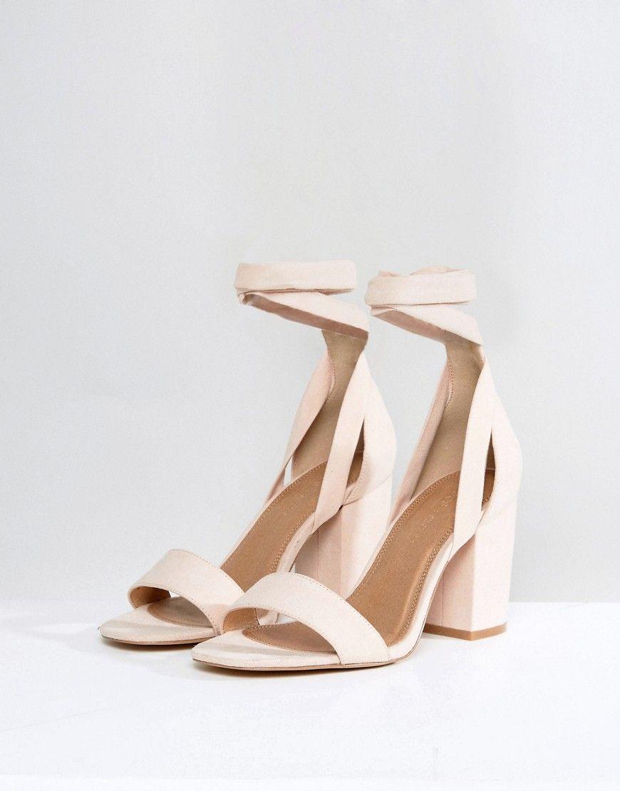 5d6857f89fe ASOS HOWLING Wide Fit Tie Leg Heeled Sandals - Beige