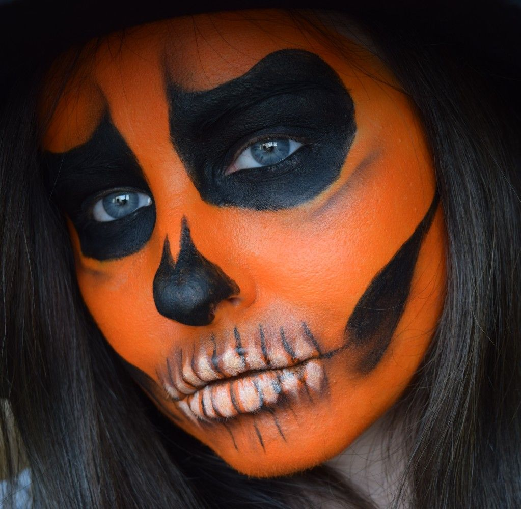 Pumpkin skull inspo Face paint makeup, Halloween face