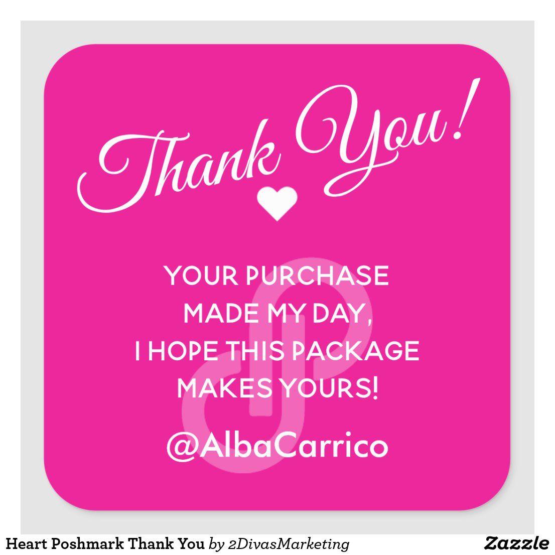 Heart poshmark thank you square sticker in