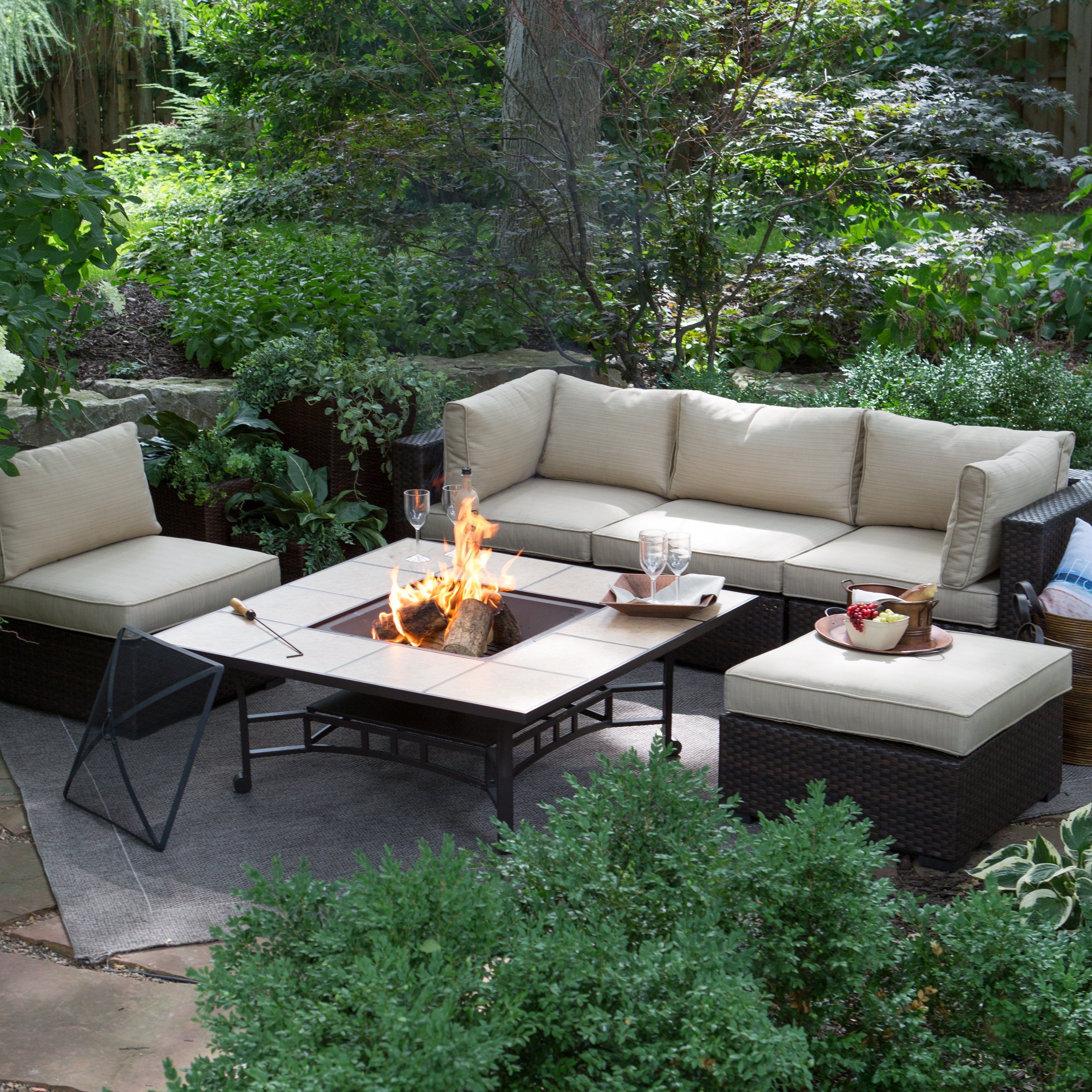 Outdoor belham living marcella all weather wicker 50 in fire pit chat set ttlc502