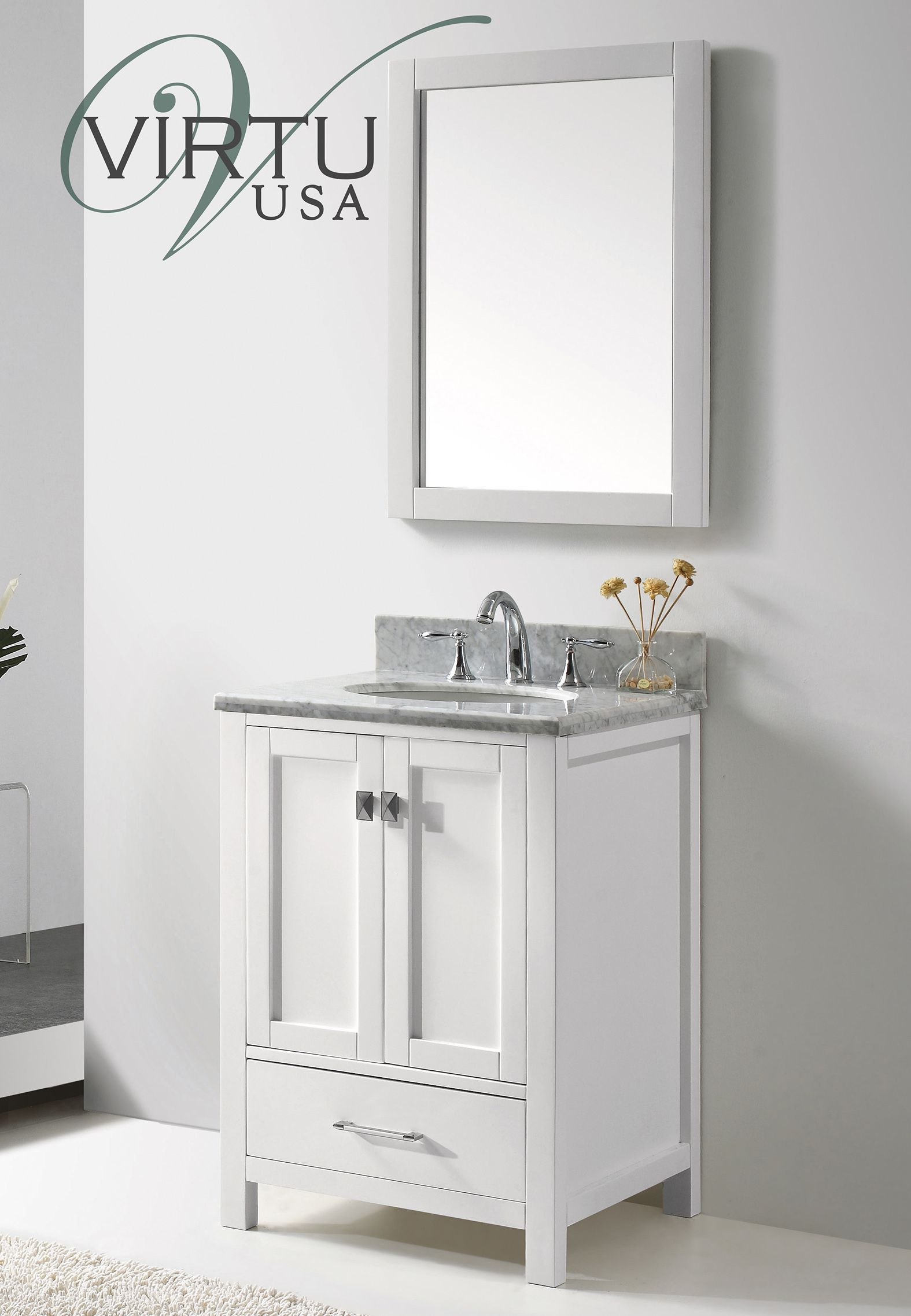 24 Inch Transitional Bathroom Vanity White Finish Set With Images