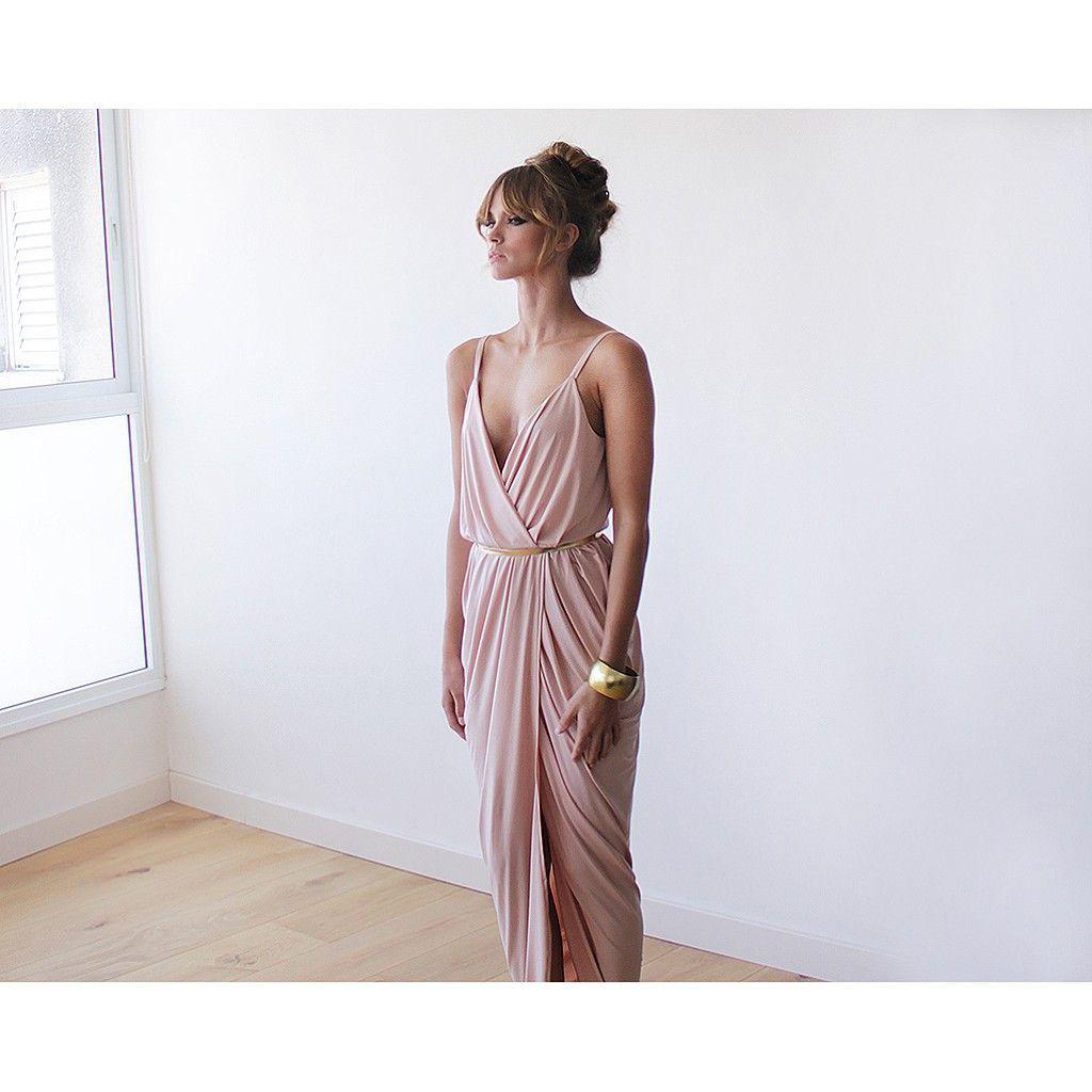 Wrap dress ,Blush pink maxi dress, Bridesmaid dress, Formal dress ...