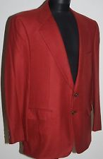 BELVEST PURE CASHMERE JACKET BLAZER RED HERRINGBONE TWO BUTTONS VENTS L XL