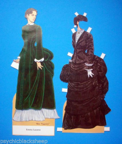 New-Colossus-EMMA-LAZARUS-Jewish-American-POET-Cut-PAPER-DOLL-SET-Tom-Tierney