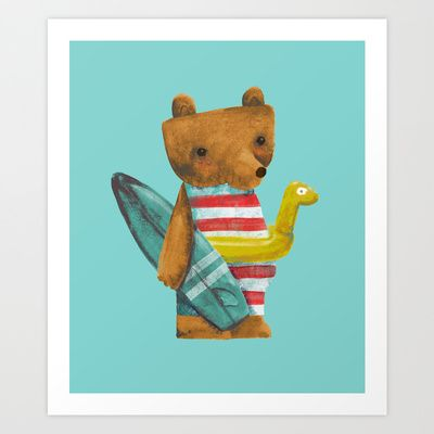 Summer Bear. Art print for kids, more available to buy online on Peekartboo account, on society 6.