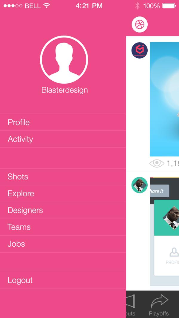Dribbble App iOS7 by Mesnil Théo, via Behance App, App