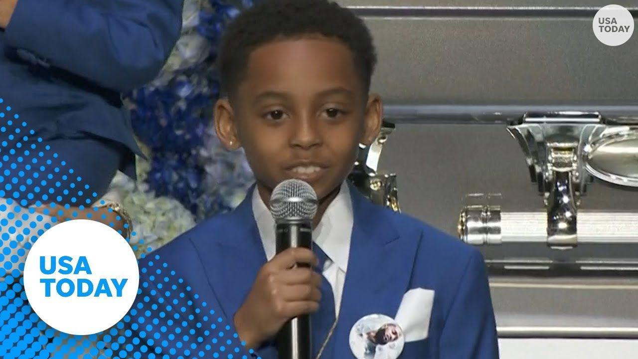 Son of Lil Wayne and Lauren London speaks at Nipsey Hussle