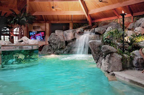 Awesome Indoor Home Spa Design Ideas With Waterfall Awesome Indoor Home Spa Design Ideas Luxury Swimming Pools Indoor Swimming Pool Design Indoor Pool Design