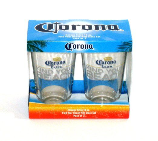 Amazon CORONA Extra FIND YOUR BEACH Pint Glass Set 2 Pack