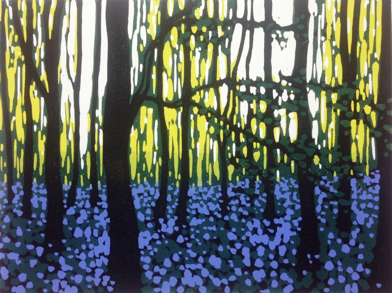 Bluebell Contemplation (2016) Linocut by Alexandra Buckle | Artfinder